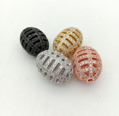 1pc 25x18mm gold plated Cz micro pave hollow rice loose beads forjewelry making
