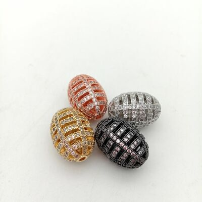 1pc 15x21mm gold plated Cz micro pave hollow rice loose beads forjewelry making