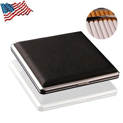 PU Leather Cover Metal Cigarette Case Box  Double Sided Clip for 20 Cigarettes