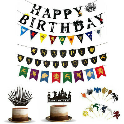 Game of Thrones Cake Topper Happy Birthday Banner Decorating Decor Party Bunting