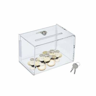 Small Clear Transparent Acrylic Lockable Ballot Suggestion Business Card Box