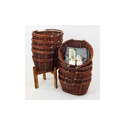 10 Dark Wicker Rustic Shopping Baskets With Wooden Stand