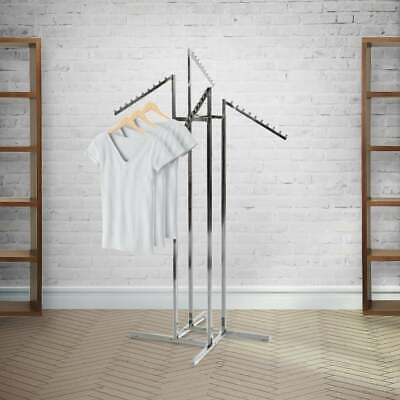 Four Sloping Arm Chrome Clothes Rail / Stand - Retail / Merchandising Display