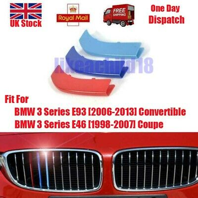 1Set For BMW 3 Series E93 E46 Front 3D M Sport Grill Badge Stickers ABS 3Color