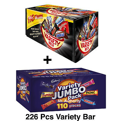 226 x Mars 116 Variety Mix + Cadbury 110 Value Jumbo Pack Chocolate Bars Candy