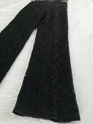 Vintage original 1970s Black Cotton lace trousers size 8
