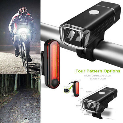 Mountain Bike Bicycle LED Head Front Light & Rear Tail Lamp Set USB Rechargeable