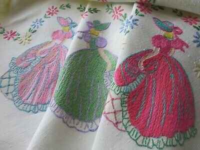 Vintage Hand Embroidered Linen Tablecloth-CRINOLINE LADIES & FLORAL'S