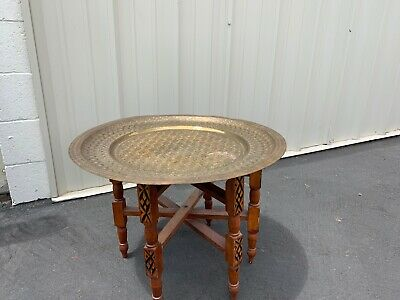 Vintage 1970'S 60'S Wood Folding Base Table With Brass Round Top Very Fun