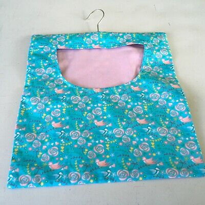 Hand Made Laundry Peg Bag With Wooden Hanger Wild Birds with Pink Lining
