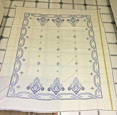 Antique white and blue hand embroidered linen tablecloth from Poland