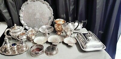 A Job Lot Of 19 Vintage Silver Plated Items.many Makers Names.7 Kgs In Weight.