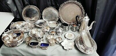 A Job Lot Of 32 Vintage Silver Plated Items.many Makers Names.7 Kgs In Weight.