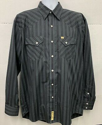7913c94e Vintage Men's Pearl Snap Shirt Larry Mahan Black and Gray Striped Size XL  Bin BB