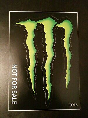 "MONSTER ENERGY STICKER 5"" x 3.5"" - GREEN M-CLAW GLOSSY DECAL STICKERS BRAND NEW"