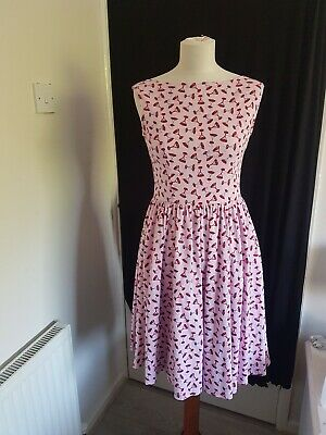 5cca0cc7ef85 Lindy Bop Pink Lined Dress Vintage Style 50s Swing Rockabilly UK 10