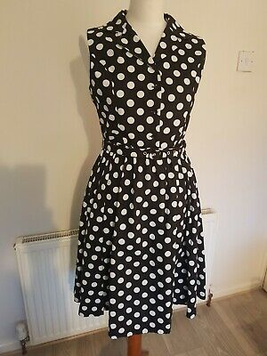 9cfeac807f1f Lindy Bop Black White Spotted Dress Vintage Style 50s Swing Rockabilly UK 10