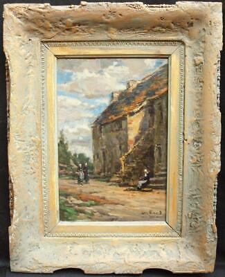 19th Century FRENCH IMPRESSIONIST STREET BRETON WOMEN Antique Oil Painting