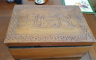 Antique wooden box Arts and Crafts style with partitions