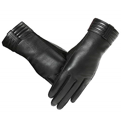 Brand New- PAGE ONE Women's Genuine Black Leather Driving Gloves in Medium Size