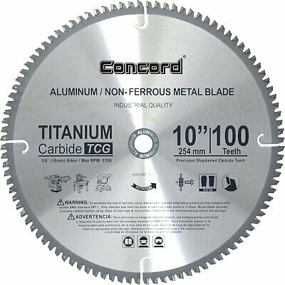 "Concord Blades Acb1000t100hp 10"" 100 Teeth Tct Non-Ferrous Metal Saw Blade New"