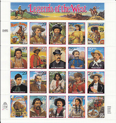 #2869 - 29¢  Legends of the West Issue -  MNH Sheet of 20 - FV $5.80