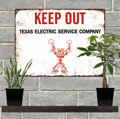"Texas Electric Reddy Cowboy Keep Out Garage Man Cave Metal Sign 9x12"" 60754"