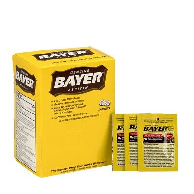 First Aid Only Bayer Aspirin Dispenser Box, 50 Packets, New, Free Shipping