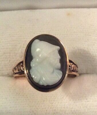 BEAUTIFUL Antique Victorian 14K Rose GOLD Carved HARD STONE CAMEO RING