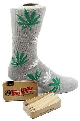 Raw King Size Cones 15 count + Raw Tin + Free Grey Leafed Socks