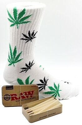 Raw King Size Cones 15 count + Raw Tin + Free White Leafed Socks