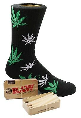 Raw King Size Cones 15 count + Raw Tin + Free Black Green Leafed Socks