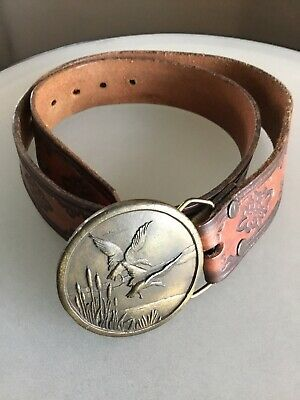 Vintage Steerhide Beveled Belt With Indiana Metal Craft Buckle With Duck Scene