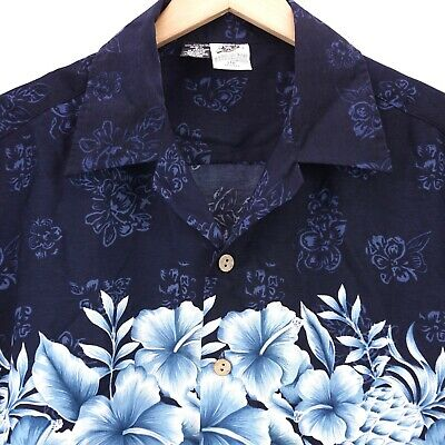 b80fb11d4 Kennington Hawaiian Shirt Aloha Hawaii Blue White Floral Polyester Mens  Size L