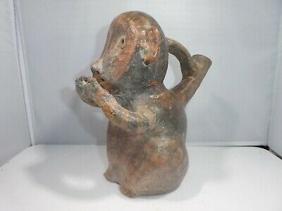 Authentic Large Pre Columbian Stirrup Monkey Vessel From Major Auction House