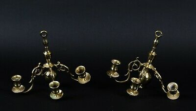 Pair of Antique Brass Wall Sconce Candle Holders