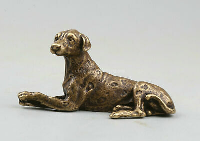 70MM Collect Chinese Bronze Fengshui Zodiac Animal Dog Watchdog Wealth Statue生肖狗