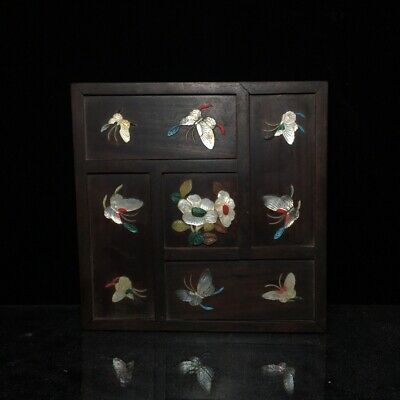 "8"" China antique huanghuali wooden Mosaic jade Butterfly flowers Jewelry box"