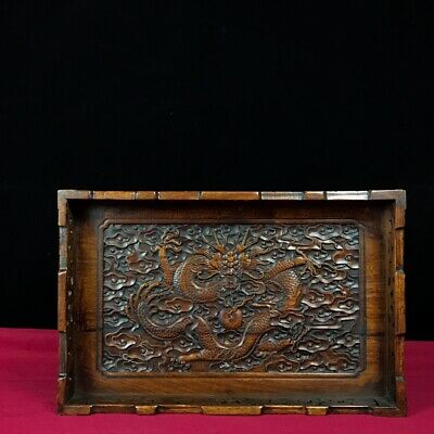 """13"""" Chinese old antique huanghuali Wood handcarved dragon pattern plate"""