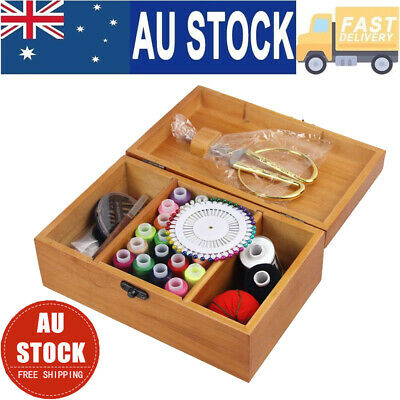 Wooden Sewing Storage Sewing Tool Kit Basket Box Gift Set Accessories Case NSW