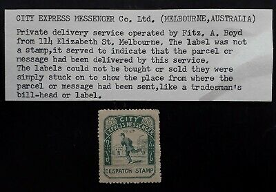 RARE c.1894 Australia City Express Messenger Despatch Stamp Cinderella MNG