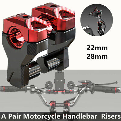 2*Motorcycle Handlebar Risers 22MM 28MM Increase Code Black Red Motorbike Parts