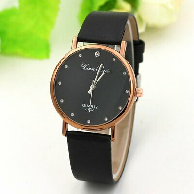 Womens Unisex Simple Casual Leather Waterproof Analog Quartz Sport Wrist Watch R