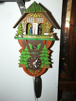 Small Wall Clock Cuckoo Clock 1950 - 1970 With Weather House