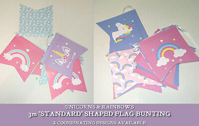 """3m BUNTING """"Standard"""" Flags RAINBOWS & UNICORNS PARTY Pink Blue Lilac 2 DESIGNS"""