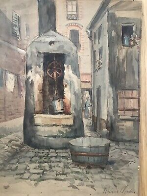 French School 19th Century Watercolour Street Scene With Figure - Signed
