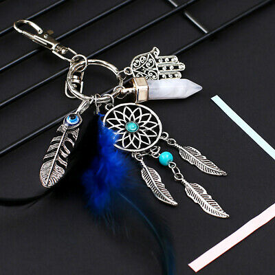 Dream Catcher Keyring Feather Leaf Pendant Key Ring Holder Handbag Accessories