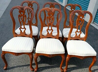 Set of 6 Antique Maple Dining Chairs Touchstone Collections Upholstery Springs