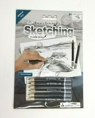 Royal & Langnickel Mini Sketching Made Easy Whales 8 Pieces NIP