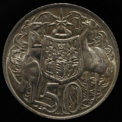 Iconic Australian 1966 Round Fifty 50 Cent Silver Bullion Coin, 80% Silver.